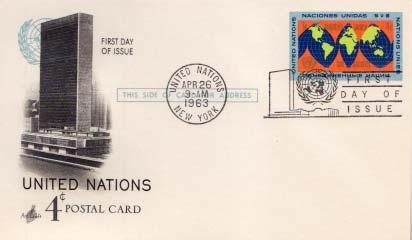United Nations, First Day Cover, Government Postal Card
