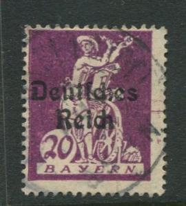 Bavaria -Scott 259 - Deutsches Reich Overprint -1920 - Used - 20pf Stamp
