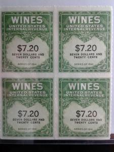 SCOTT # RE 60 MINT NEVER HINGED BLOCK OF 4 GEMS NGAI TWO LINES WINE STAMPS