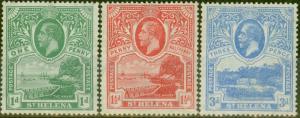 St Helena 1922 set of 3 SG89-91 Fine Very Lightly Mtd Mint