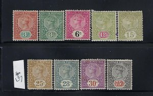 CEYLON SCOTT #132-136/138-141 1886-1900 VICTORIA  WMK 2- MINT HINGED