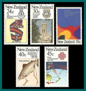 New Zealand 1983 Commemorations, MNH  771-775, SG1303-SG1307