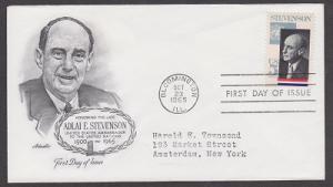 1275 Adlai Stevenson Artmaster FDC with neatly typewritten address