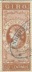 ESPAGNE / SPAIN / ESPAÑA 1867 Sello Fiscal (GIRO) 50 centimos castaño - Usado