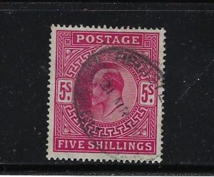 GREAT BRITAIN SCOTT #140 EDWARD VII 1902-11 DEFINITIVES 5 SH (ROSE)  - USED