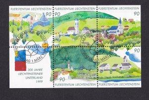 Liechtenstein   #1138  cancelled 1999 sheet with label  scene of villages