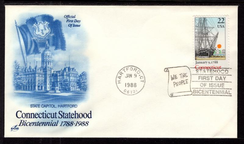 US 2340 Connecticut Statehood Artcraft U/A FDC