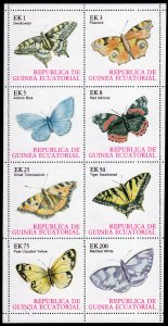 Equatorial Guinea 1977 Butterflies Sheetlet (8) Perforated Mi#1197/1204 MNH