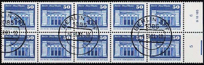 Germany(DDR). 1973 50pf(Block of 10). S.G.E2205. Fine Used(CTO)
