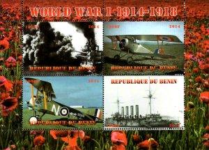 Benin 2014 World War I Bi-plane Ship 4v Mint Souvenir Sheet S/S. (#04)