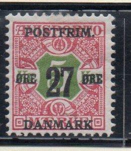 Denmark Sc 143 1918 27 or surcharge on 5 kr newspaper  stamp mint