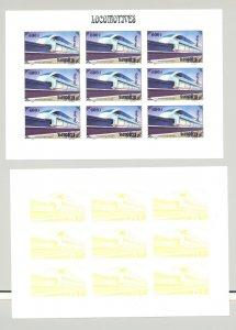 Mongolia #2255i Trains, Monorail 1v Imperf M/S of 9 x 7v Progressive Proofs