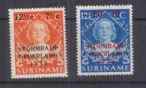 SURINAME, 1953 Netherlands Flood Relief overprint pair, lhm.