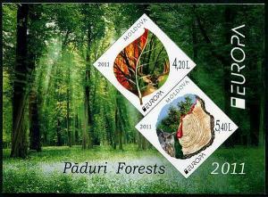HERRICKSTAMP MOLDOVA Sc.# 714a Europa 2011 Forests S/S