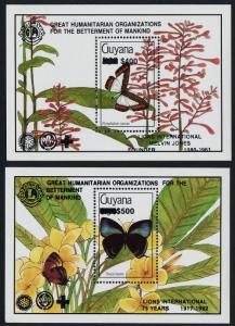 Guyana 2605-6 black o/p MNH Butterflies, Flowers, Lions International