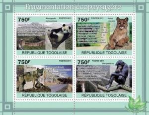Togo - Animals - 4 Stamp  Sheet  20H-162