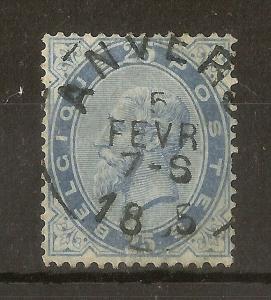 Belgium 1883 25c Leopold SG65 Fine Used Cat£55