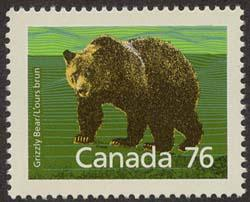 Canada USC #1178i Mint VF-NH Cat. $5.00 1989 76c Grizzly - Slater Paper