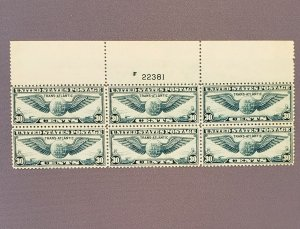 C24, Winged Globe, Plate Block of 6, Mint OGNH, CV $200