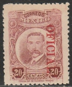 MEXICO O160, 20¢ OFFICIAL. Unused, H OG. F-VF.