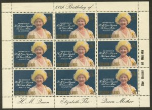 PITCAIRN IS. Sc#193 1980 Queen Mother's Birthday M/S of 9 Complete Set MNH