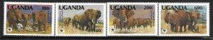 1991   UGANDA  -  SG.  988 / 991  -  AFRICAN ELEPHANT  -  WWF  -  MNH