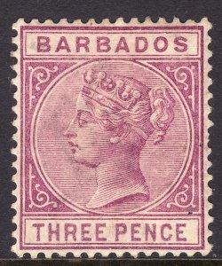 1885 Barbados Queen Victoria QV Three pence lilac issue MLMH Sc# 63a CV $125.00