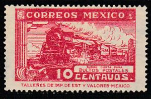 MEXICO Q5, 10cents PARCEL POST, STEAM ENGINE. UNUSED, H, OG.. F-VF