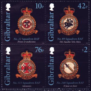 Gibraltar. 2012. from bl105. Royal Air Force Squadron Badges. MNH.