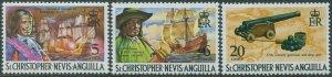 St Kitts-Nevis 1970 SG211-215 Morgan Pirate Gun MNH