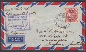 AUSTRALIA 1951 5/- Arms on Experimental first flight cover to Chile........27580