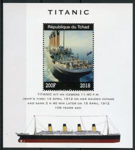 Chad 2018 MNH Titanic 1v M/S Boats Ships Nautical Stamps
