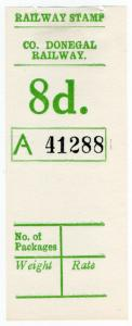 (I.B) County Donegal Railway : Parcel Stamp 8d