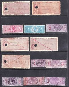 INDIA AND MORE REVENUE STAMPS  COLLECTION LOT x13 ALL DIFFERENT