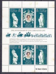 BRITISH ANTARCTIC 1978 Coronation Anniversary Sheet; Scott 71, SG 86a; MNH