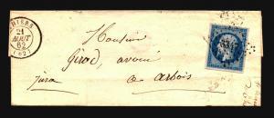 France 1862 Cover / Lyon A Paris Backstamp - Z15690