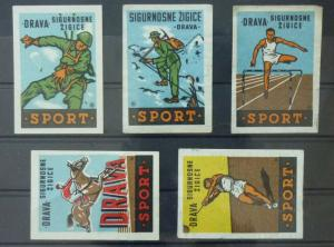 Match Box Labels ! sport horse racing athletics GN64
