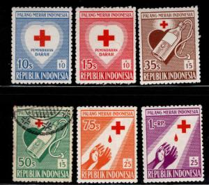 Indonesia Scott B92-B97 Mixed mint and used red cross set