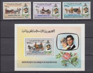 Z4110, 1982 mauritania mnh set + s/s #518-21 ovpt,s royality