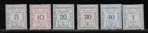 Zanzibar, J18-23 Postage Due set MLH