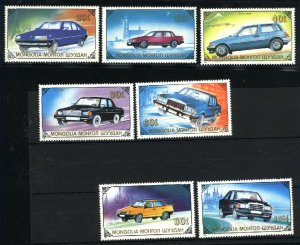 Mongolia 1802-08 automobiles Mint NH VF 1990   PD