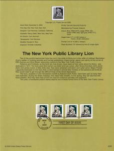 US SP1378 New York Public Lion 3447 Souvenir Page FDC