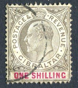 Gibraltar 1903 KEVII. 1s black & carmine. Used. Crown CA. SG51.