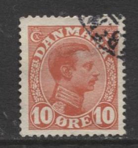 Denmark - Scott 100 - King Christian X Issue -1913 - Used - Single 10o Stamp