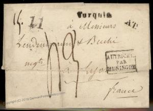 Turkey 1841 Austria France Disinfected Cholera Pest Cover Constantinople 91913