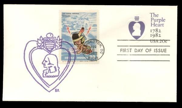 2nd Signal Armored Batalion Poster Stamp on Purple Heart #U603 FDC