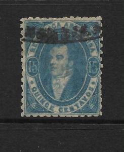 ARGENTINA  1864-67  15c  BLUE   FU     Sc 13