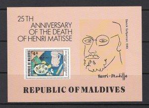MALDIVE ISLANDS SC# 810 S/S 25th. ANNIV. DEATH OF HENRI MATISSE MNH