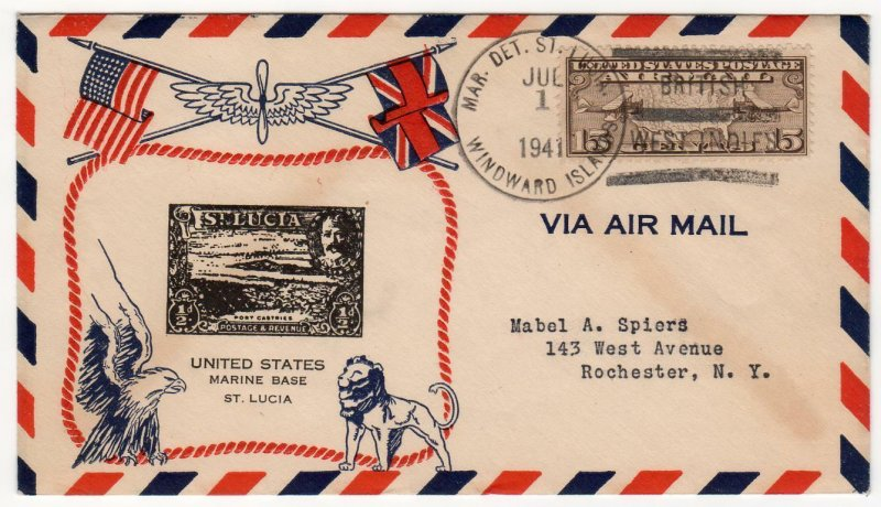 Map 15c airmail single Marine Detachment Saint Lucia 1941 unusual cachet