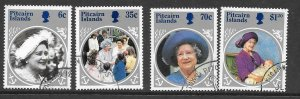 PITCAIRN ISLANDS SG268/71 1984 LIFE & TIMES OF QUEEN MOTHER FINE USED